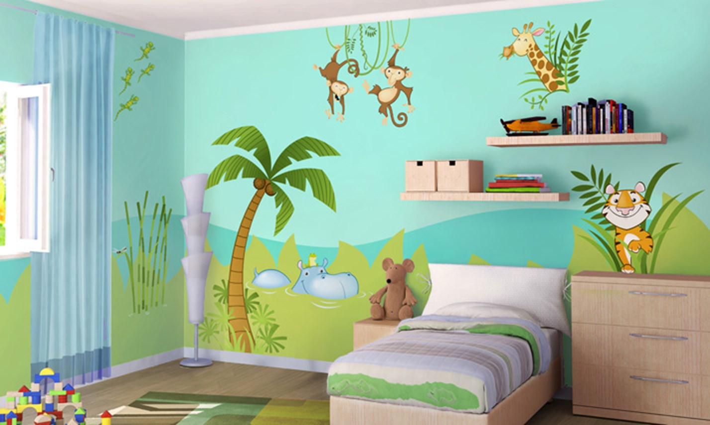 Stickers murali bambini cameretta nella giungla leostickers - Decorazioni muri camerette bambini ...